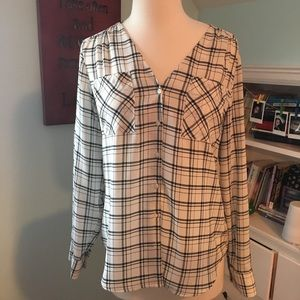 Black and white plaid blouse
